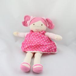 Doudou poupée chiffon robe rose pois couettes COROLLE