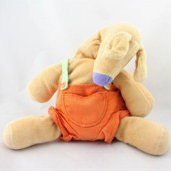 Doudou kangourou beige salopette orange VERTBAUDET