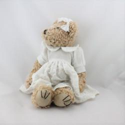 Peluche ours beige robe blanche LA GALLERIA