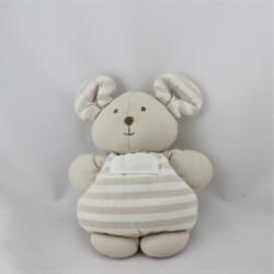 Doudou semi plat souris beige les bébés de l'an 2000 NOUNOURS