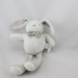 Doudou lapin blanc beige rayé