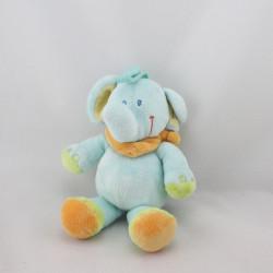 Doudou attache tétine éléphant bleu vert foulard orange KIABI NICOTOY