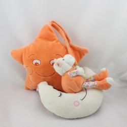 Doudou musical étoile vache orange sur lune GIPSY