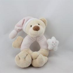 Doudou hochet ours beige rose étoile BOUTCHOU BOUT'CHOU