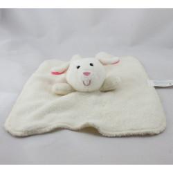 Doudou plat mouton blanc rose TOMAWAK EDITIONS