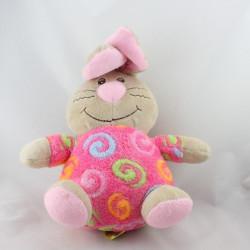 Doudou lapin beige rose spirales BOB DER BAR