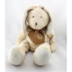 Doudou lapin beige écharpe marron