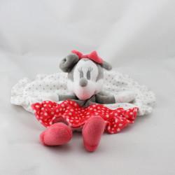 Doudou plat rond Minnie gris blanc rouge pois DISNEY NICOTOY