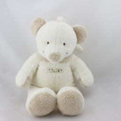 Doudou musical ours souris blanc beige NICOTOY