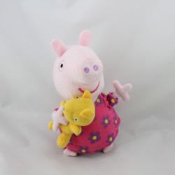 Doudou sonore cochon rose fleurs avec ours PEPPA PIG