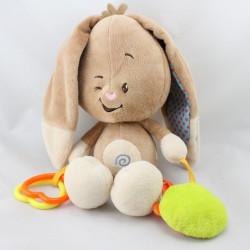 Doudou eveil lapin beige marron hochet miroir AUCHAN BABY
