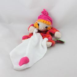 Doudou plat poupée lutin rose orange rayé mouchoir RUBENS BARN