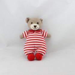 Doudou ours rouge rayé NICO DINGO