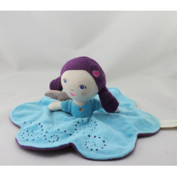 Doudou plat poupée fée papillon bleu violet CARRE BLANC