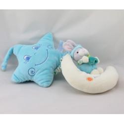 Doudou musical étoile lapin bleu blanc sur lune GIPSY