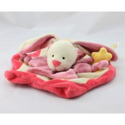Doudou plat lapin rose blanc jaune étoiles BABY LUNA