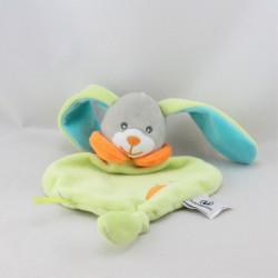 Doudou plat lapin vert orange gris bleu U TOUT PETITS