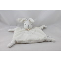 Doudou plat lapin blanc gris PERLE KALOO