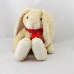 Doudou lapin beige écharpe rouge TCF TOUT COMPTE FAIT