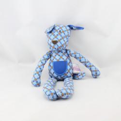 Doudou chien bleu fleurs POMMETTE