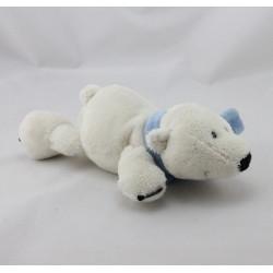 Doudou ours blanc écharpe bleu AUDI NICI