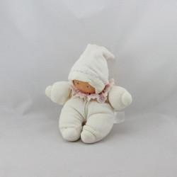Doudou poupon bébé blanc col rose fleurs COROLLE