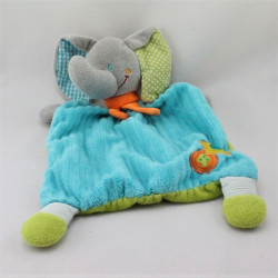 Doudou plat éléphant gris bleu vert pois rayures MOTS D'ENFANTS