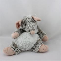 Doudou souris grise beige blanc NICOTOY