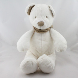 Grand Doudou ours blanc bandanas beige NICOTOY 42 cm