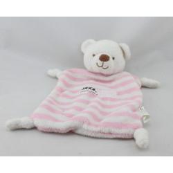 Doudou plat ours blanc rose rayé IKKS