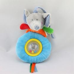 Doudou hochet éléphant bleu orange vert rouge BEBE DECOUVERTES LGRI