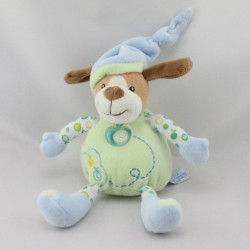 Doudou musical chien vert bleu pommes GIPSY