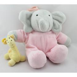 Doudou musical éléphant Flore rose avec girafe Babar LANSAY
