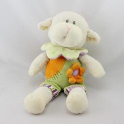 Doudou mouton blanc vert orange violet fleur EDL