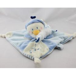 Doudou plat carré pingouin bleu blanc Youpik NICOTOY