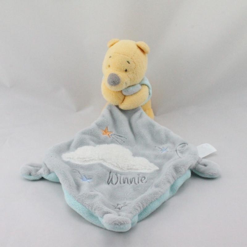 Doudou Winnie l'ourson avec mouchoir gris bleu nuage DISNEY