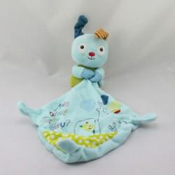 Doudou lapin chien bleu vert pois mouchoir POMMETTE