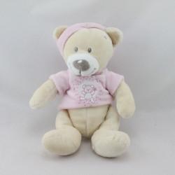 Doudou ours blanc écru rose NICOTOY