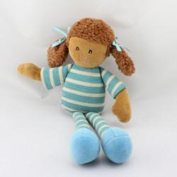 Doudou poupée fille métis rayé bleu AJENA