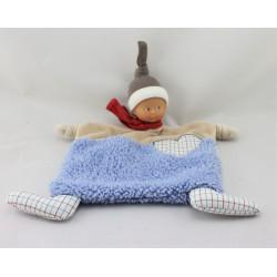 Doudou plat poupée baby Corolle beige bleu rouge coeur