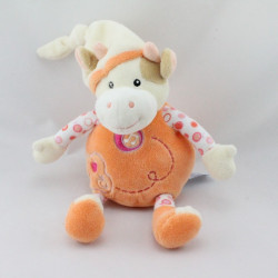 Doudou musical vache orange écru pommes GIPSY