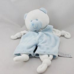 Doudou plat ours blanc bleu salopette ANNA CLUB PLUSH
