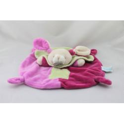 Doudou plat lapin rose vert cape BABY NAT