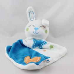 Doudou plat lapin bleu blanc étoile lune SIPLEC