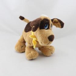 Doudou chien beige marron foulard jaune GIPSY