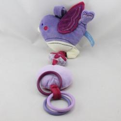 Doudou mobile vibrant oiseau violet mauve blanc TOUT SIMPLEMENT