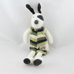 Doudou chien blanc cocard noir La grande famille MOULIN ROTY 32 cm