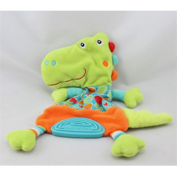 Doudou plat crocodile vert bleu orange dentition BABYSUN