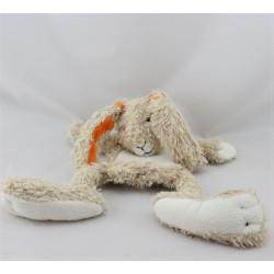 Doudou plat lapin beige blanc orange HAPPY HORSE