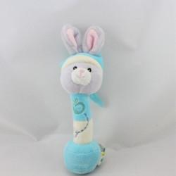 Doudou baton hochet lapin bleu gris GIPSY